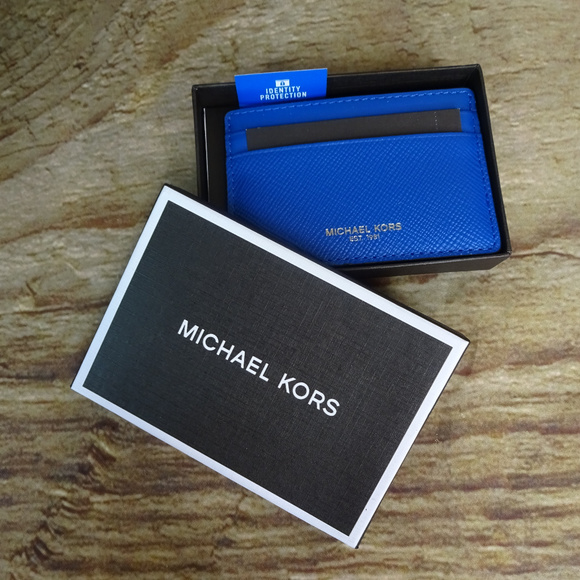 eed18f89da64 Michael Kors Harrison Card Case Electric Blue B15